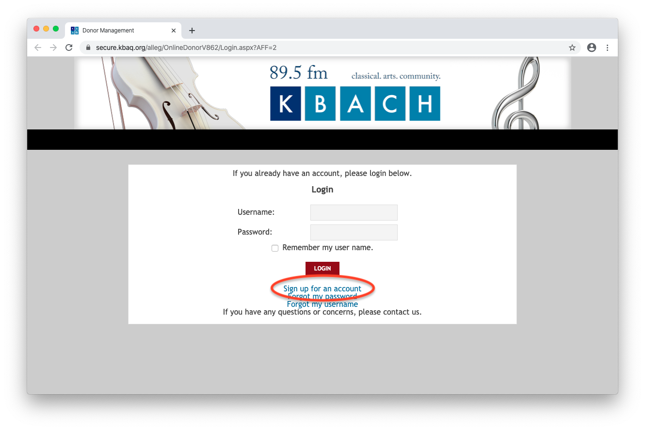 KBACH E-Member login page with account signup link circled