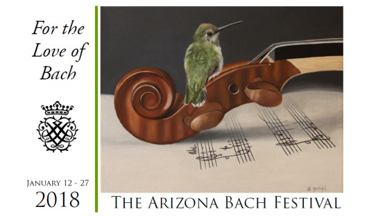 Festival poster of a hummingbird sitting on the head of a violin