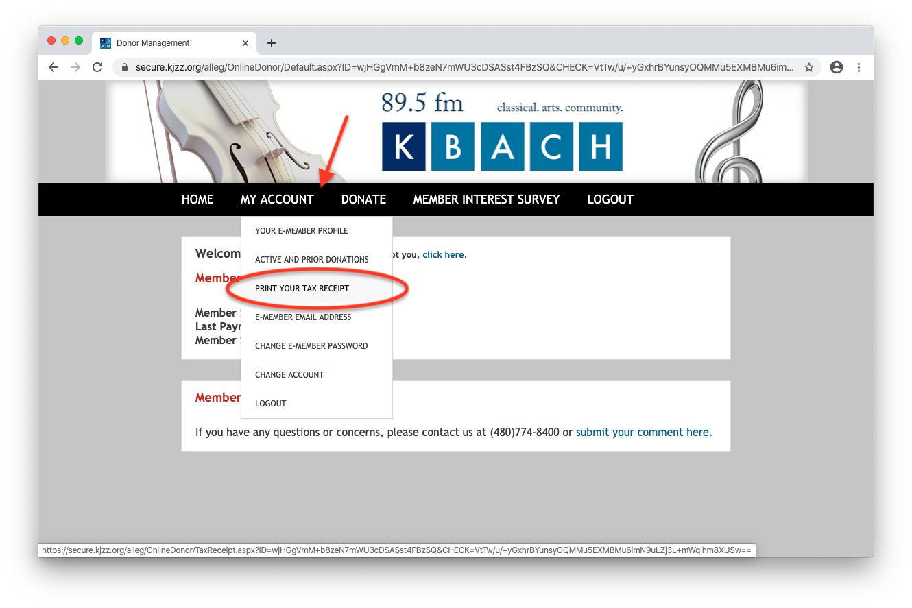 Printing your tax receipt in KBACH e-member account