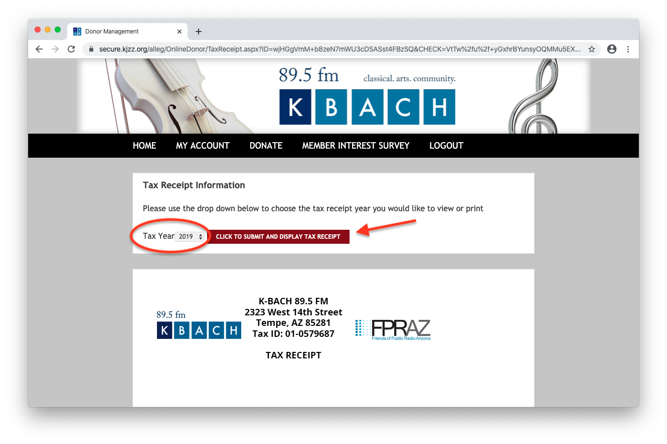 Printing your tax receipt in your KBACH e-member account